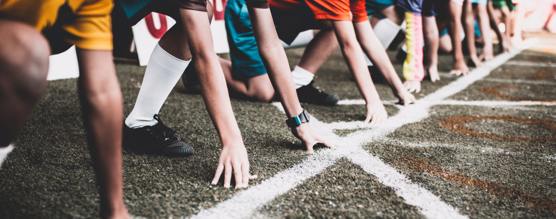 Sportler an Startlinie