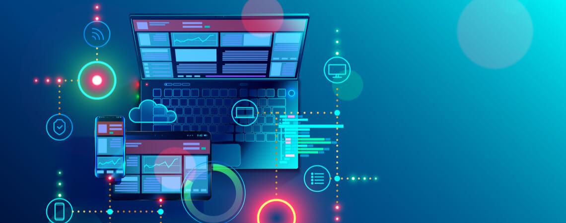 Digitale Inhalte und Cloud-Dienst auf Laptop