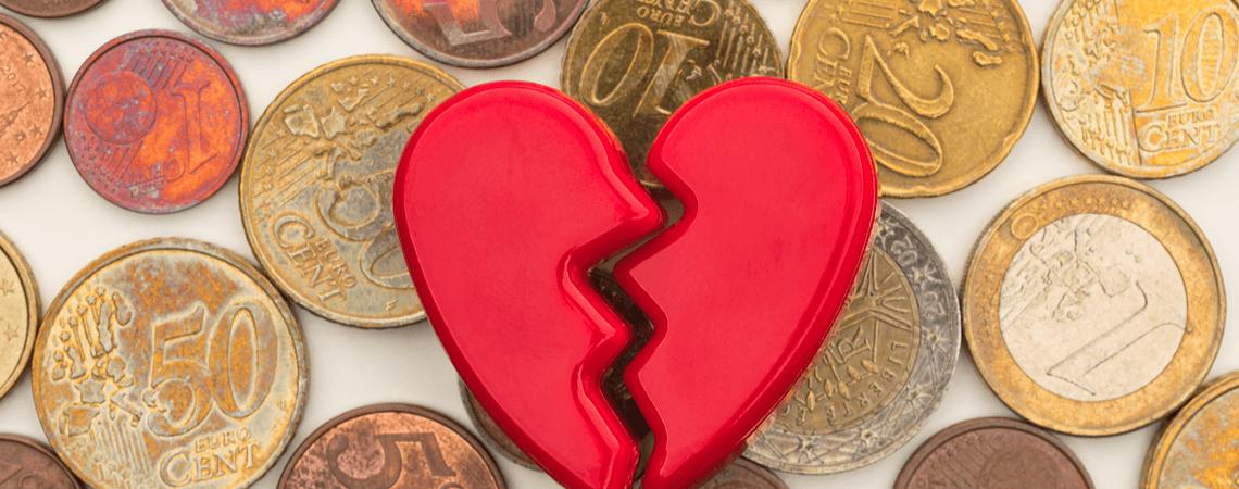 gebrochenes Herz auf Euro Münzen