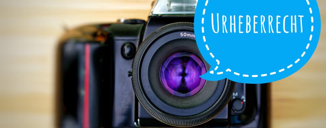 Kamera mit Sprechblase Urheberrecht