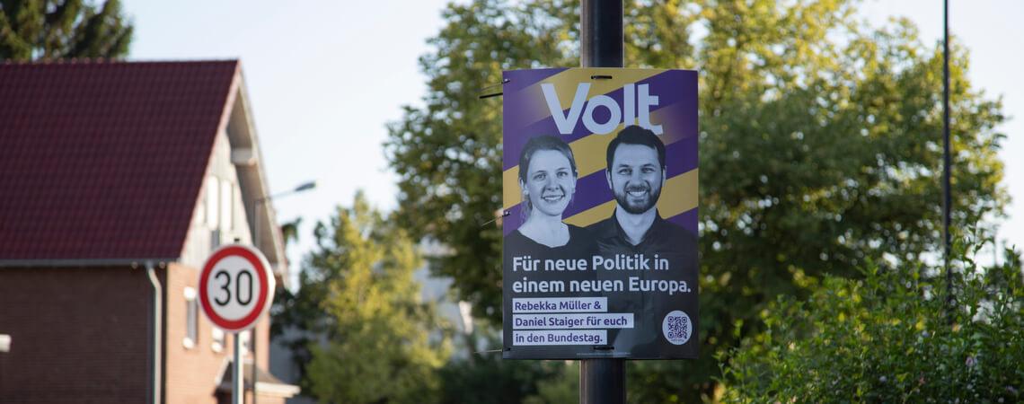 Volt-Wahlplakat zur Bundestagswahl