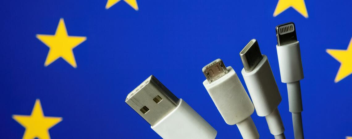 Ladekabel vor EU-Flagge
