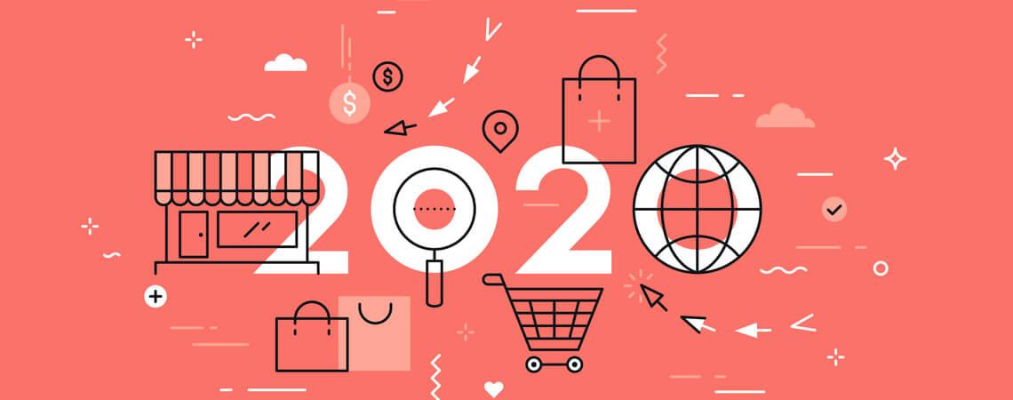 Grafik mit Einkaufssymbolen und 2020