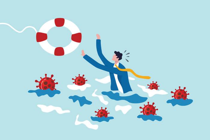 Rettungsring für Unternehmer im Wasser mit Coronavirus
